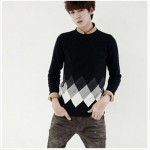 Mens splicing knit sweater