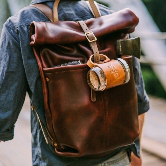 Men Satchel Canvas Backpack
