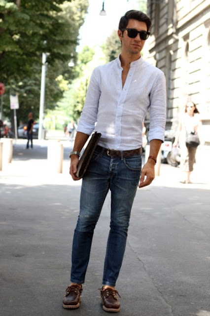 Men who wear white shirts is the most handsome men for White pants denim shirt