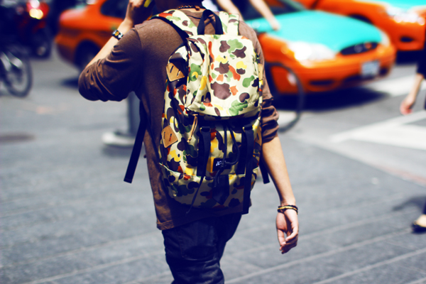men camo backpack
