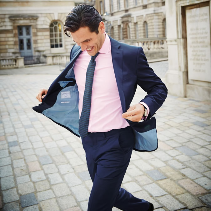 Navy Suit - Pink shirt | FashionBeans