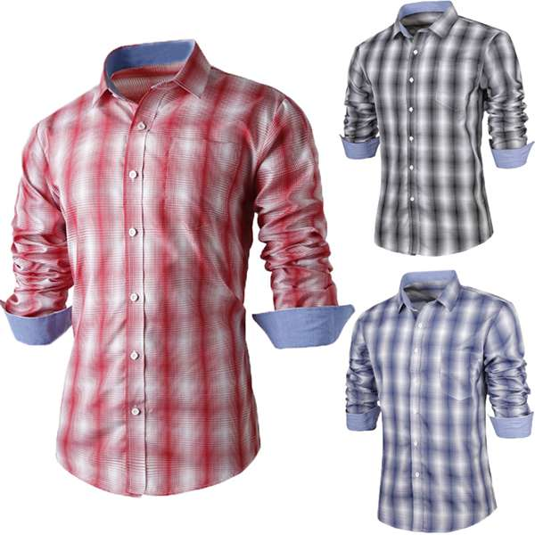 Mens Plaid Long-sleeve Shirt