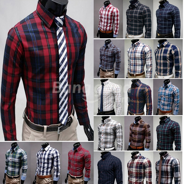 Mens cotton plaid shirt