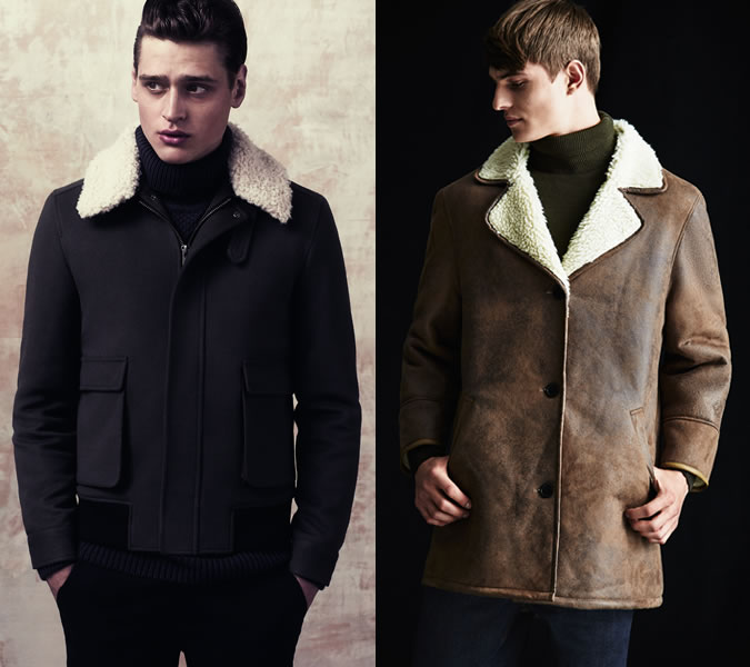 men woolen lapel coats