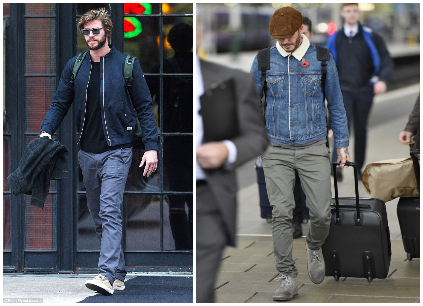 67f03aa53065 Ryan Gosling inspires us a lot. He rocks a canvas backpack by wearing a  plain T-shirt and jeans with boots