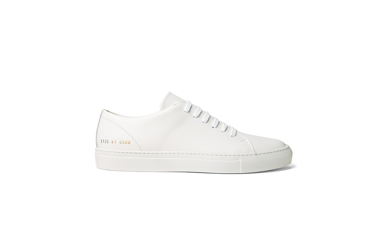 white low top trainer